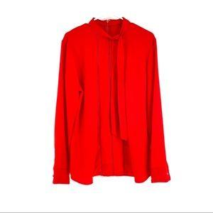 Ralph Lauren longsleeve tie collar red women's top